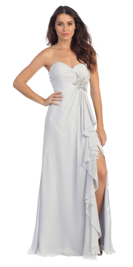Ruffled Thigh Slit Strapless Long Silver Column Gown