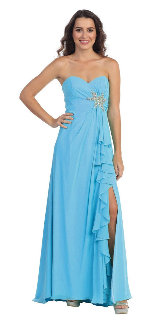 Ruffled Thigh Slit Strapless Long Turquoise Column Gown