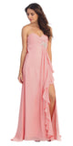Ruffled Thigh Slit Strapless Long Blush Column Gown