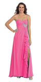 Ruffled Thigh Slit Strapless Long Fuchsia Column Gown