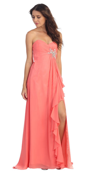 Ruffled Thigh Slit Strapless Long Coral Column Gown