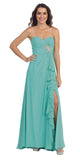 Ruffled Thigh Slit Strapless Long Jade Column Gown