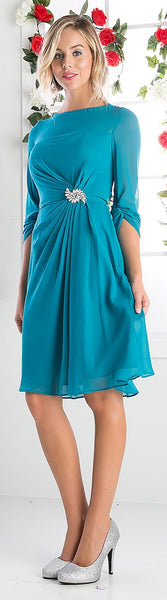Cinderella Divine CF062 Scoop Neckline 3/4 Sleeves Cocktail Dress Jade Knee Length