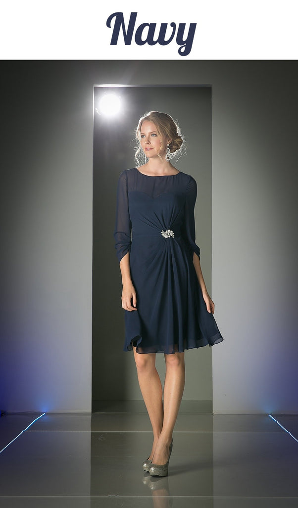 Cinderella Divine CF062 Scoop Neckline 3/4 Sleeves Cocktail Dress Navy Blue Knee Length