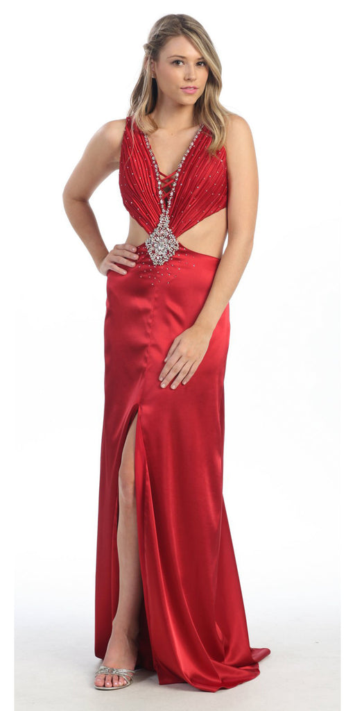 ON SPECIAL - LIMITED STOCK - Sexy Red Dress Prom Long Open Front Slit Side V Neckline Rhinestones Gown