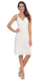 Sexy V Neck Empire Waist White Knee Length Cocktail Dress Chiffon