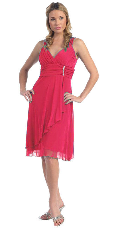 Sexy V Neck Empire Waist Fuchsia Knee Length Cocktail Dress Chiffon