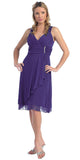 Sexy V Neck Empire Waist Purple Knee Length Cocktail Dress Chiffon