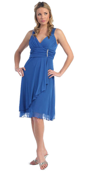 Sexy V Neck Empire Waist Royal Blue Knee Length Cocktail Dress Chiffon