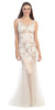 Sheath Mermaid Gown Ivory Nude Illusion Neck Lace Embroidery
