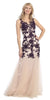 Sheath Mermaid Gown Plum Nude Illusion Neck Lace Embroidery