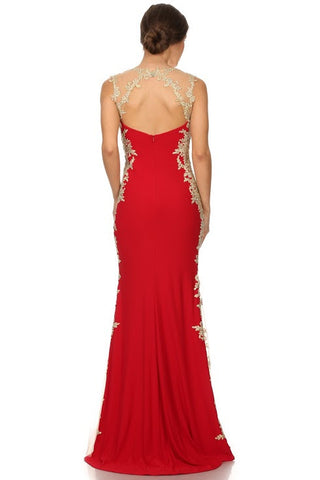Eureka Fashion 6006 Sheath Mermaid Silhouette Gown Red Gold Floor Length Lace Trim