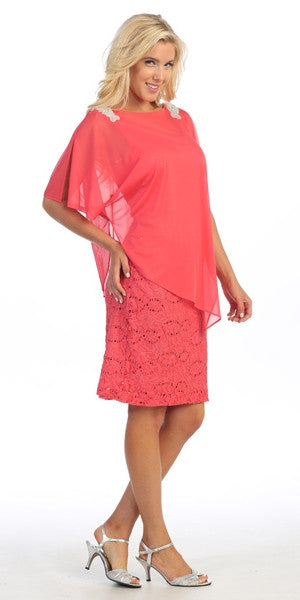Sheer Batwing Sleeved Lace Coral Sheath Cocktail Dress