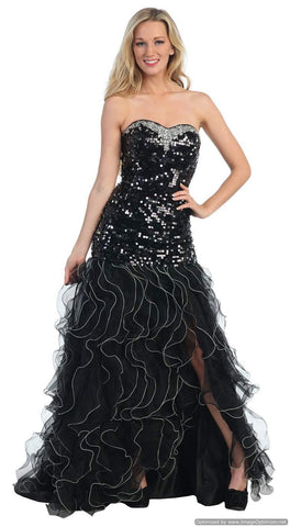 Black Formal Gown Red Carpet Event Sequin Strapless Sexy Open Slit