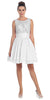 Starbox USA 6054 Short Bateau Neck White Dress Chiffon A Line Illusion