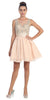 Starbox USA 6054 Short Bateau Neck Champagne Dress Chiffon A Line Illusion