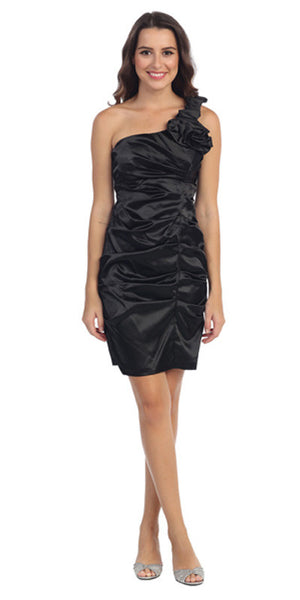 Short Black Cocktail Gown Single One Shoulder Form Fit Pin Tucked