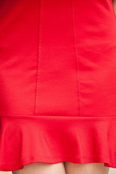 Short Red Dress Peter Pan Collar Back Zipper Sleeveless