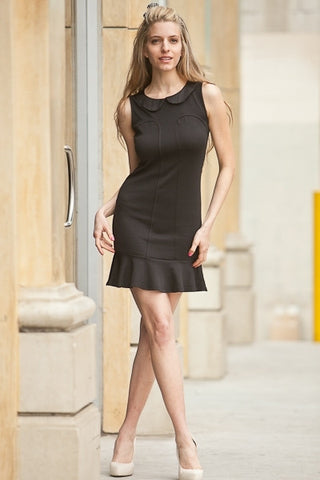 Short Black Dress Peter Pan Collar Back Zipper Sleeveless