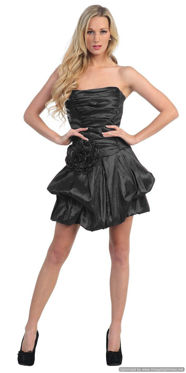 Short Black Evening Cocktail Gown Bubble Strapless Stretch Taffeta