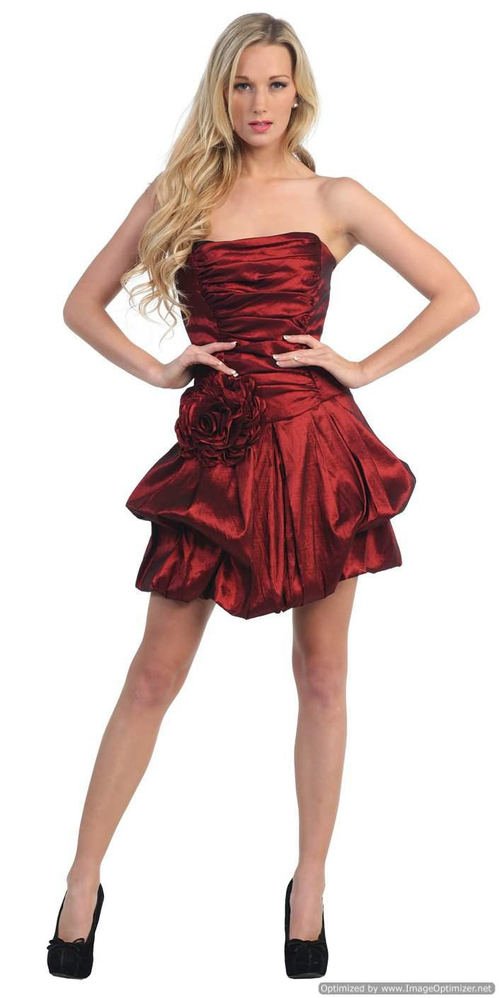 Short Burgundy Evening Cocktail Gown Bubble Strapless Stretch Taffeta