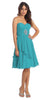 Short Chiffon Knee Length Bridesmaid Dress Jade Strapless