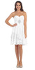 Short Chiffon Knee Length Bridesmaid Dress Off White Strapless