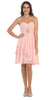 Short Chiffon Knee Length Bridesmaid Dress Blush Strapless