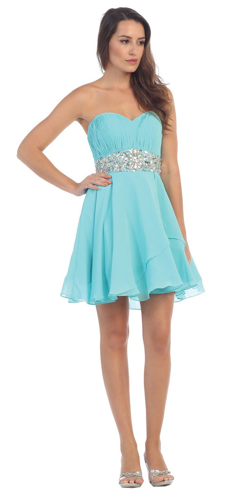 Starbox USA 6068 Short Chiffon Semi Formal Dress Tiffany Blue Rhinestone Waist