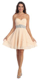 Starbox USA 6068 Short Chiffon Semi Formal Dress Champagne Rhinestone Waist
