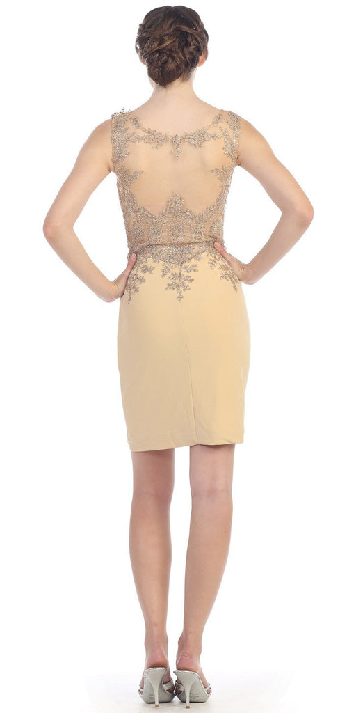 Short Cocktail Sheath Dress Beige Embroidery Bodice Sheer Back