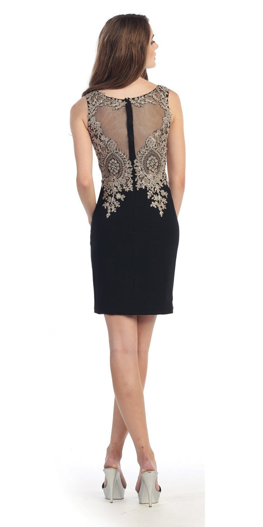 Short Cocktail Sheath Dress Black Embroidery Bodice Sheer Back