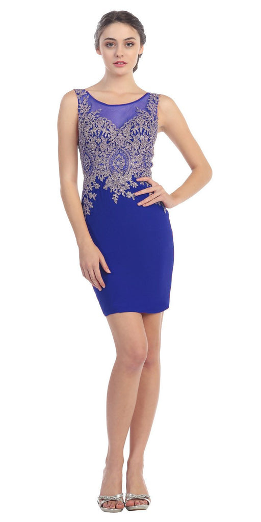 Short Cocktail Sheath Dress Royal Blue Embroidery Bodice Sheer Back