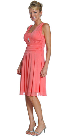Short Coral Dress Knee Length Bridesmaid Chiffon Wide Straps