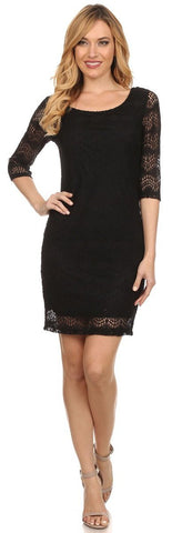Short Crochet A Line Body Con Dress Black 3/4 Sleeves