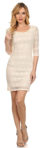 Short Crochet A Line Body Con Dress White 3/4 Sleeves