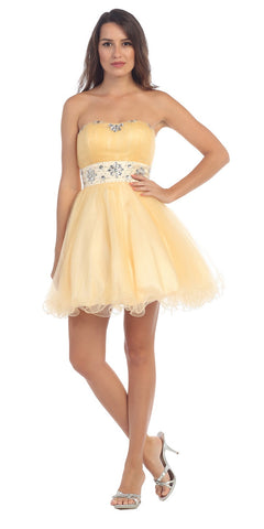 Short Damas Dress Tulle A Line Skirt Champagne Dress Strapless