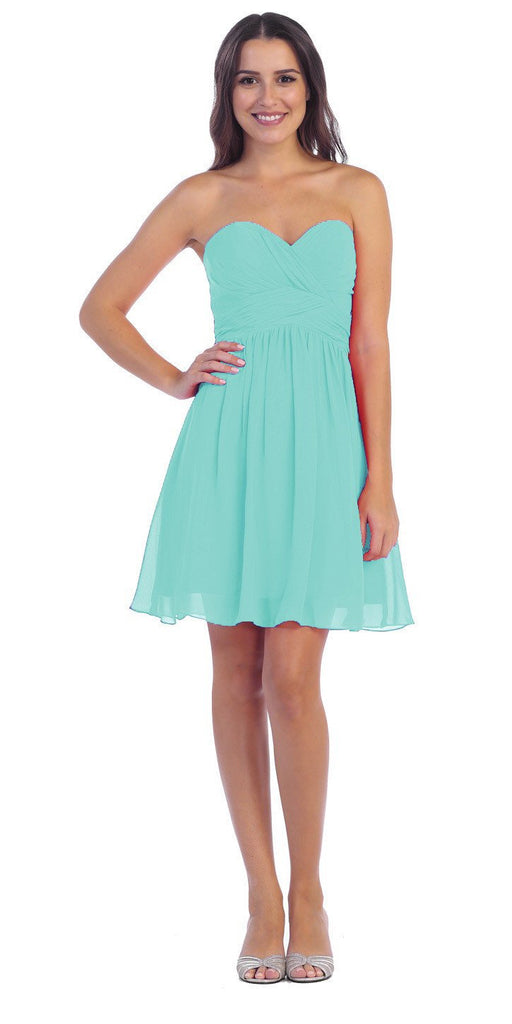 Short Knee Length Bridesmaid Dress Mint Chiffon Strapless