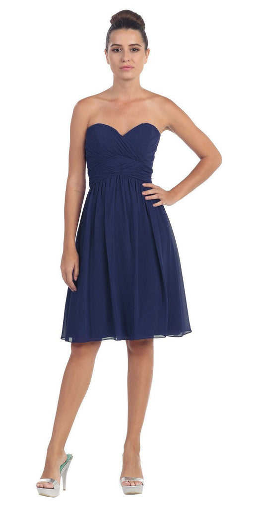 Short Knee Length Bridesmaid Dress Navy Blue Chiffon Strapless