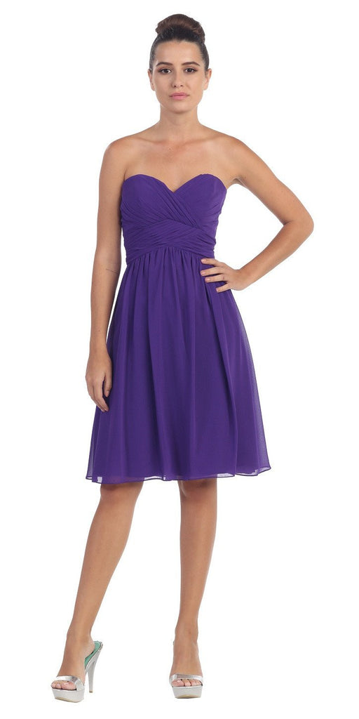 Short Knee Length Bridesmaid Dress Purple Chiffon Strapless