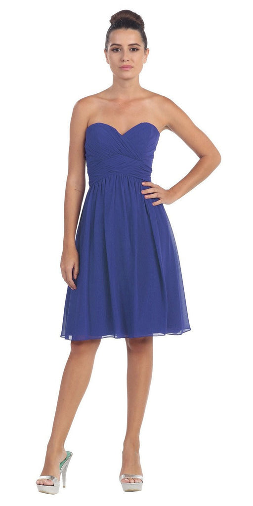 Short Knee Length Bridesmaid Dress Royal Blue Chiffon Strapless