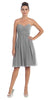 Starbox USA 6016-1 Short Knee Length Bridesmaid Dress Silver Chiffon Strapless