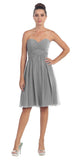 Short Knee Length Bridesmaid Dress Silver Chiffon Strapless