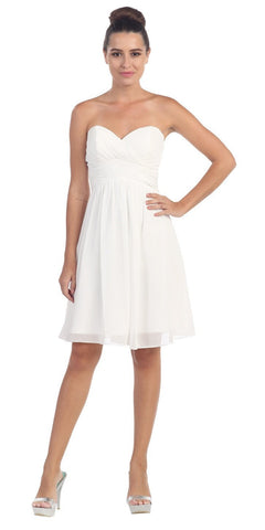 Starbox USA 6016-1 Short Knee Length Bridesmaid Dress White Chiffon Strapless