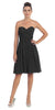 Starbox USA 6016-1 Short Knee Length Bridesmaid Dress Black Chiffon Strapless