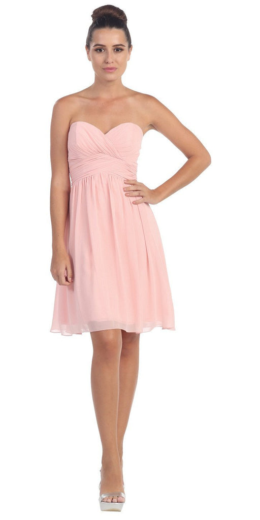 Short Knee Length Bridesmaid Dress Blush Chiffon Strapless