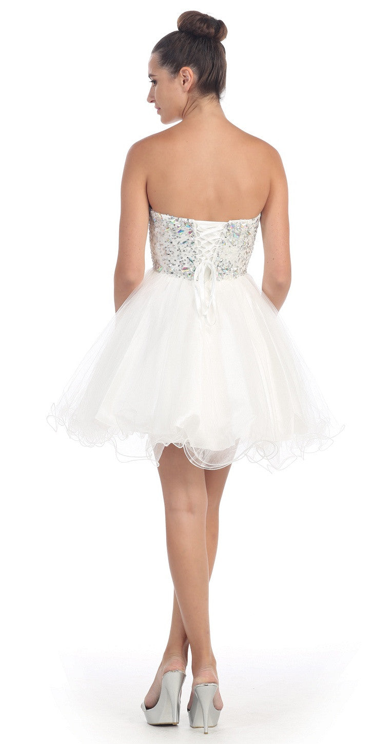 Short Poofy Ball Gown White Strapless Tulle Skirt A Line