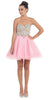 Short Poofy Ball Gown Pink Strapless Tulle Skirt A Line