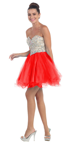 Short Poofy Ball Gown Red Strapless Tulle Skirt A Line