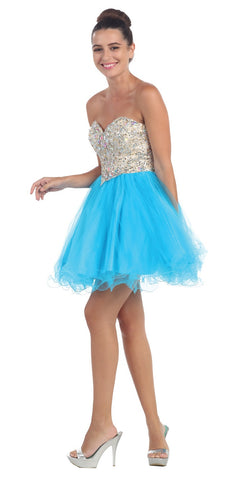 Short Poofy Ball Gown Turquoise Strapless Tulle Skirt A Line
